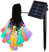 Amir 8 Modes 30 LEDs Water Drop Solar String Lights, 20ft Colorful Christmas Lights, Raindrop Fairy Lights Starry Lights, Waterproof Ambiance Lighting for Gardens, Home, Wedding, Party (Multi Color)