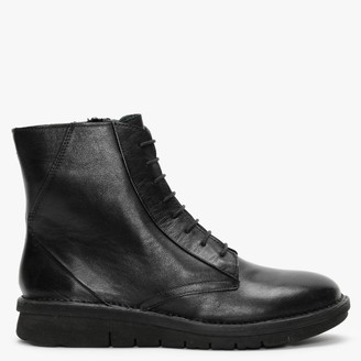 Manas Design Black Leather Lace Up Ankle Boots