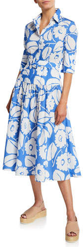 Piazza Sempione Half-Sleeve Tropical Floral Belted A-Line Dress