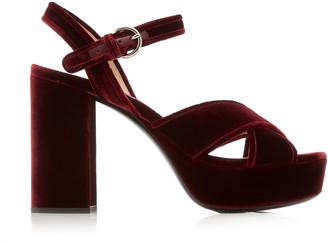 Miu Miu Velvet Platform Sandals