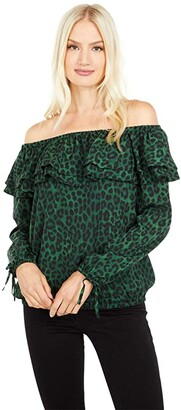 MICHAEL Michael Kors Mega Cheetah Ruffle Peasant Top (Moss) Women's Clothing