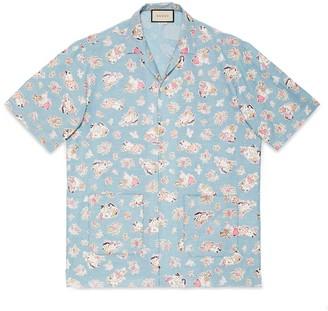 Gucci Oversize printed chambray bowling shirt