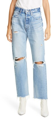 Moussy Odessa Ripped Straight Leg Jeans