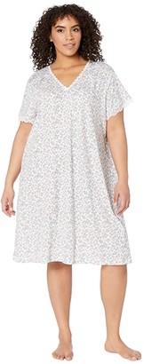 Karen Neuburger Plus Size Island Breeze Short Sleeve Nightshirt (Ditsy Bright White) Women's Pajama