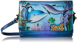 Anuschka Anna by Women's Genuine Leather Flap-Over Cross Body | Hand Painted Original Artwork | Playful Dolphin