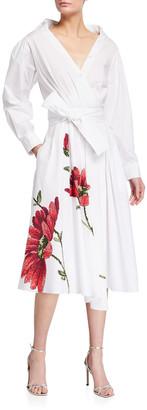 Adam Lippes Floral-Print Poplin Asymmetrical Midi Shirtdress