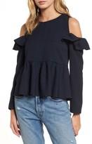 BP Women's Ruffle Cold Shoulder Top