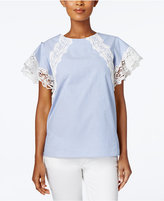 Charter Club Cotton Striped Lace-Trim Top, Created for Macy's