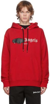 Palm Angels Red and Black Paris Logo Sprayed Hoodie