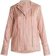 KALMAR Flat-collar striped silk blouse