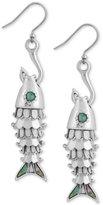 Lucky Brand Silver-Tone Fish & Hook Drop Earrings