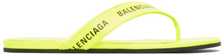 Balenciaga Yellow Logo Thong Sandals