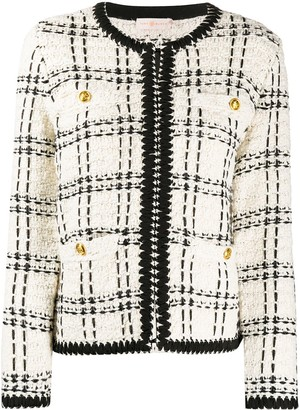 Tory Burch collarless tweed jacket