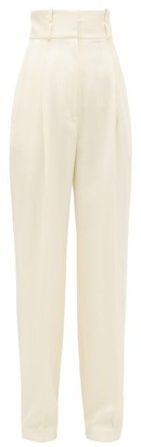 Hillier Bartley High-rise Striped Wool Trousers - Womens - Cream
