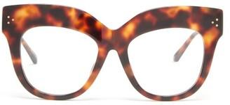 Linda Farrow Keaton Exaggerated-brow Acetate Glasses - Tortoiseshell