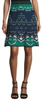 M Missoni Floral Jacquard Knit Skirt, Teal