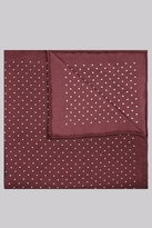 Moss Bros Premium Wine Border Spot Silk Pocket Square