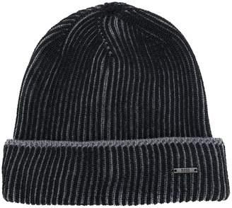 HUGO BOSS ribbed logo beanie hat