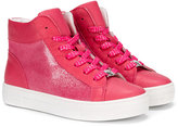 Armani Junior glittered high-stop sneakers