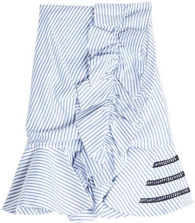 Caroline Constas Striped Cotton Skirt with Ladder Trims