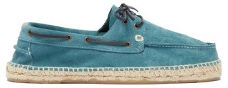 Manebi Hamptons Suede And Braided-jute Boat Shoes - Mens - Blue
