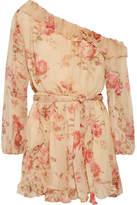 Zimmermann Corsair One-shoulder Ruffled Floral-print Silk-georgette Playsuit - Beige