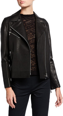 Lafayette 148 New York Aisling Washed Italian Lambskin Leather Moto Jacket