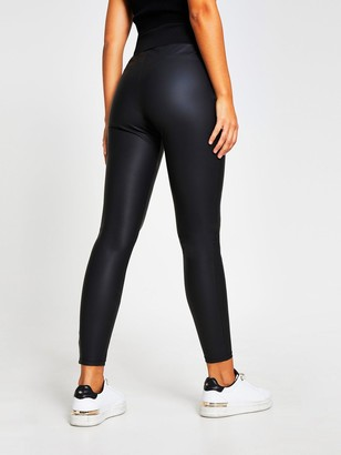 River Island Button Detail Coated Legging - Black