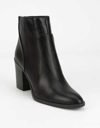 Qupid Block Heel Black Womens Booties