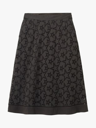White Stuff Ira Broderie Anglaise Star Skirt, Charcoal