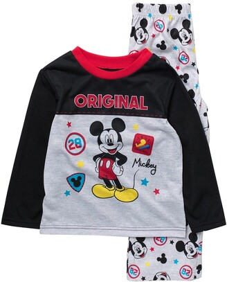 AME Disney Mickey Mouse Print Long Sleeve Top & Pants Pajama 2-Piece Set
