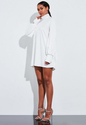 Missguided Ivory Blouson Sleeve High Neck Mini Dress