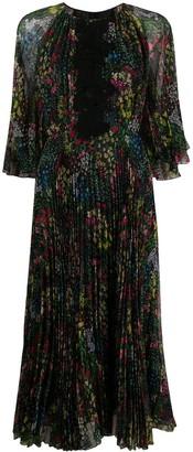 Giambattista Valli Pleated Floral-Print Dress