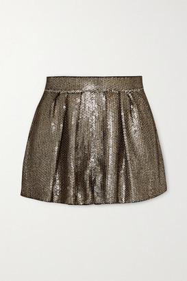 Saint Laurent Sequined Crepe Shorts - Black