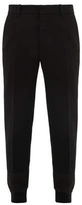 Alexander McQueen Hybrid Panelled Cuff Wool Twill Trousers - Mens - Black