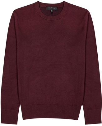 Rag & Bone Barrow burgundy cotton-blend jumper