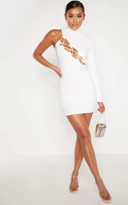 PrettyLittleThing White One Shoulder Asymmetric Lace Up Bodycon Dress