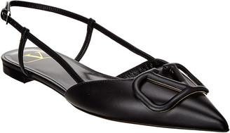 Valentino Vlogo Leather Slingback Ballerina Flat