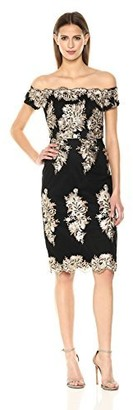 Nicole Miller Women's Off-Shoulder Sequin Embroidery Cocktail Dress