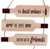The Home Fusion Company Wooden Bottle Shape Quote Plaque Wall Hanging Sign 30cm Home Love Laughter Coffee