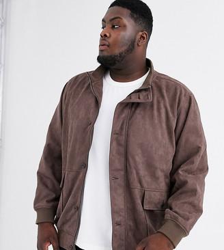 Jacamo bomber jacket in faux suede-Brown