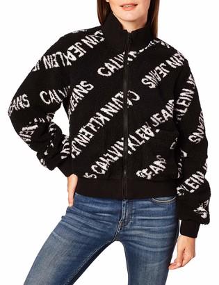 Calvin Klein Jeans Women's Diagonal Logo Sherpa Jacket