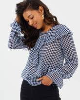 Missguided Gingham Frill Front Detail Long Sleeve Blouse