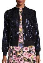 Rebecca Taylor Silk Sequin Bomber Jacket