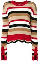 Moncler striped frill-trim sweater