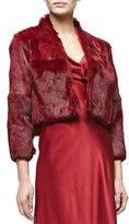 Cushnie et Ochs 3/4-Sleeve Fur Bolero, Ruby