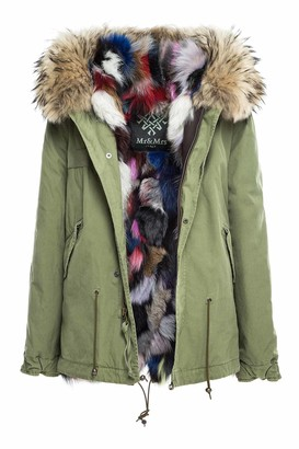 Mr & Mrs Italy Army Cotton Canvas Mini Parka With Patch Fox Fur Lining