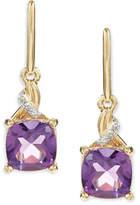 Fine Jewellery 14K Yellow Gold Amethyst Diamond Drop Earrings