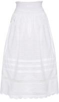RED Valentino Smock-waist cotton-batiste skirt
