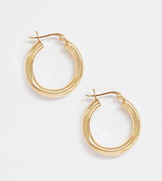 ASOS DESIGN sterling silver with gold plate tube hoop earrings in 25mm